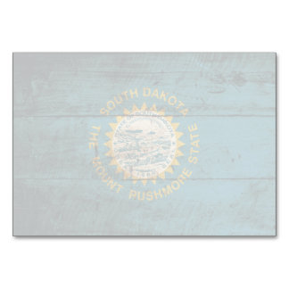 South Dakota State Flag on Old Wood Grain Table Cards