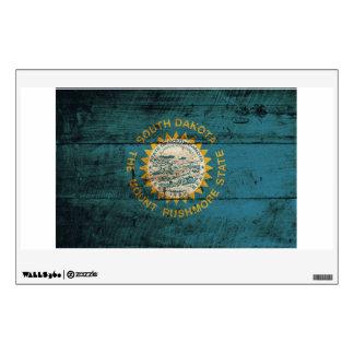 South Dakota State Flag on Old Wood Grain Wall Sticker