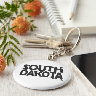 South Dakota State Name Word Art Black Keychain