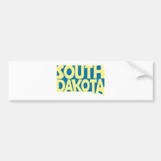 South Dakota State Name Word Art Yellow Bumper Sticker
