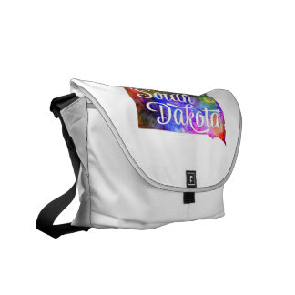 South Dakota U.S. State in watercolor text cut Courier Bag