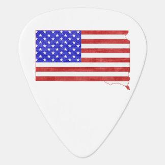South Dakota USA flag silhouette state map Guitar Pick