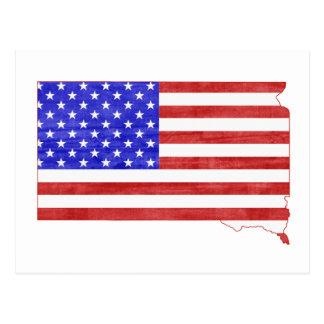 South Dakota USA flag silhouette state map Post Cards