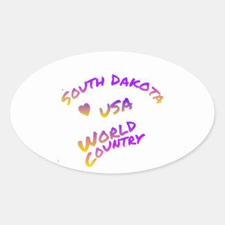 South Dakota usa world country,  colorful text art Oval Sticker