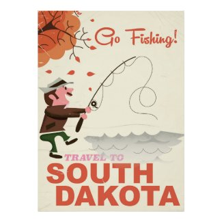 South Dakota vintage fishing vacation poster