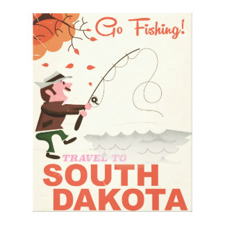 South Dakota vintage fishing vacation poster Canvas Print