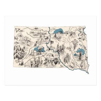 South Dakota Vintage Picture Map Postcard