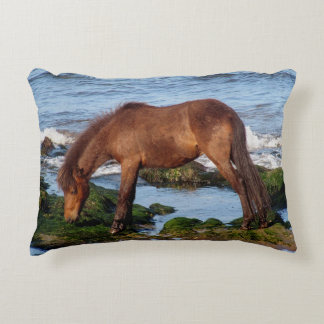 South Devon Beach Dartmoor Pony Eating Seaweed Accent Cushion