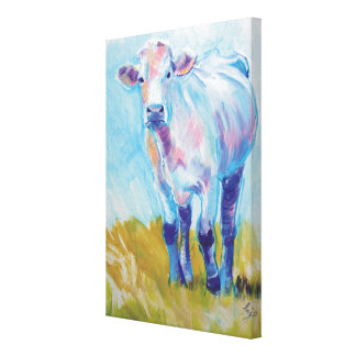 South Devon Cow Painting of a White Cow Canvas Print