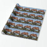 South Devon Dartmoor Pony Eating Seaweed On Beach Wrapping Paper