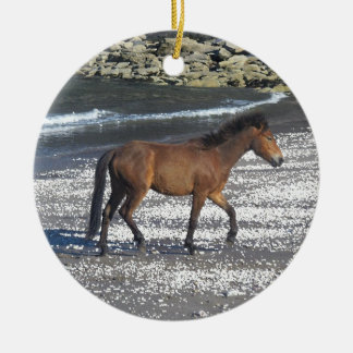 South Devon Dartmoor Pony Trotting On Beach Ceramic Ornament