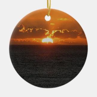 South Devon Gara Rock Early November Sunset Double-Sided Ceramic Round Christmas Ornament