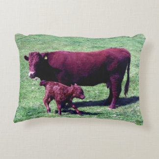South Devon Ruby Red Cow And Calf Decorative Pillow