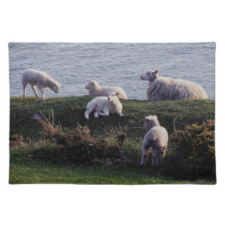 South Devon Sheep And Lambs On Remote Coastline Cloth Placemat