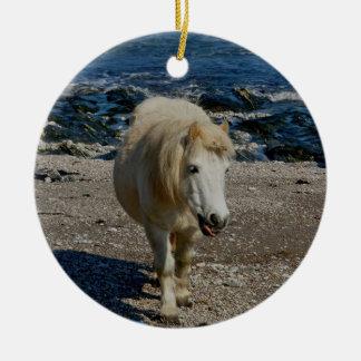 South Devon Shetland Pony Walking On Remote Beach Double-Sided Ceramic Round Christmas Ornament