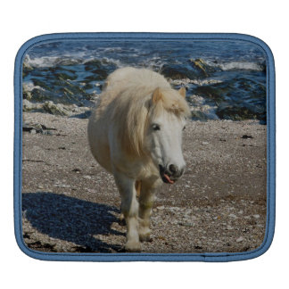South Devon Shetland Pony Walking On Remote Beach Sleeve For iPads