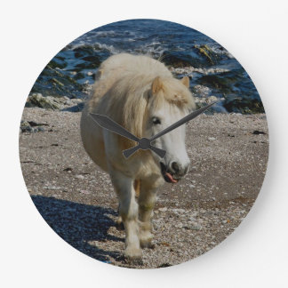 South Devon Shetland Pony Walking Remote Beach Wall Clock