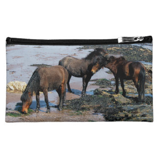 South Devon Three Dartmoor Ponies On Remote Beach Makeup Bag