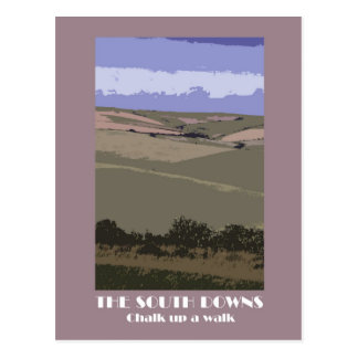 South Downs 1920s-style retro postcard