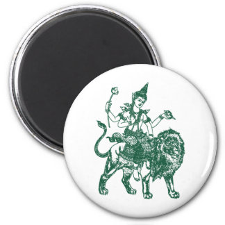 SOUTH EAST ASIAN SITTING BUDDHA ON LION 2 INCH ROUND MAGNET