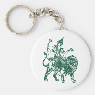 SOUTH EAST ASIAN SITTING BUDDHA ON LION BASIC ROUND BUTTON KEYCHAIN