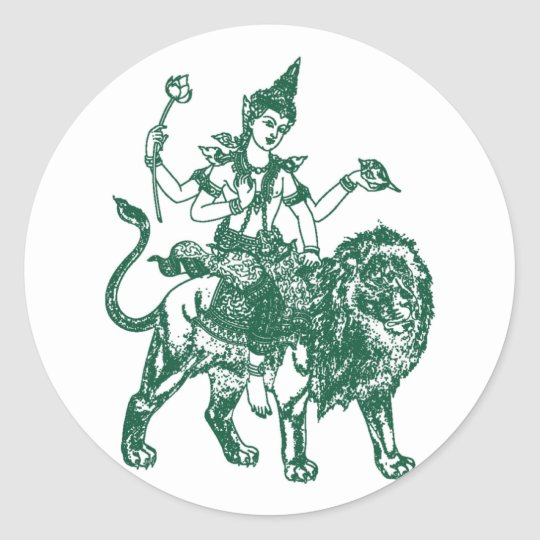 SOUTH EAST ASIAN SITTING BUDDHA ON LION CLASSIC ROUND STICKER