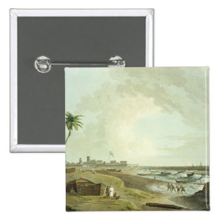 South East View of Fort St. George, Madras, plate Pinback Button