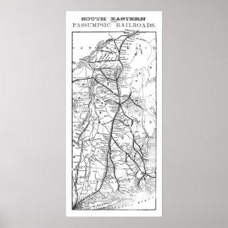 South Eastern & Ancient Passumpsic Railroads Map Poster