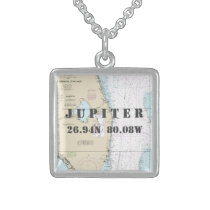 South Florida Hometown Latitude Longitude Nautical Sterling Silver Necklace