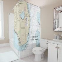 South Florida Latitude Longitude Nautical Chart Shower Curtain