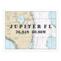South Florida Nautical Chart Latitude Longitude Postcard