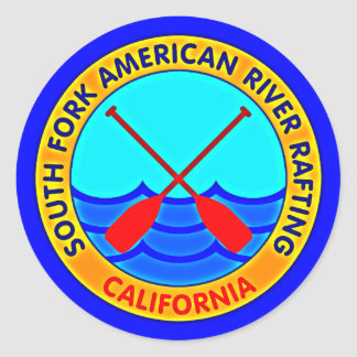 South Fork American River Rafting California Classic Round Sticker