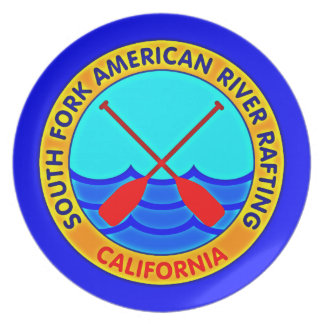South Fork American River Rafting California Party Plate