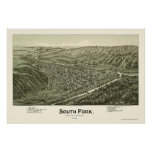 South Fork, mapa panorámico del PA - 1900 Posters