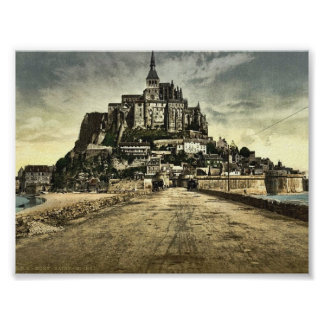 South front from the dike, Mont St. Michel, France Poster
