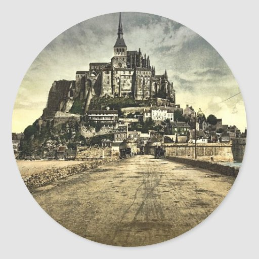 South front from the dike, Mont St. Michel, France Classic Round Sticker