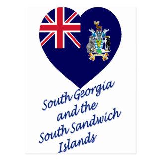 South Georgia Flag Heart Postcard
