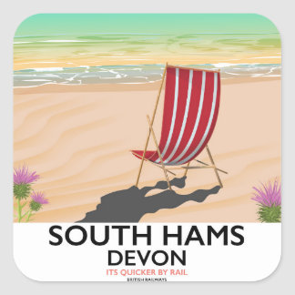 South Hams Devon beach poster Square Sticker