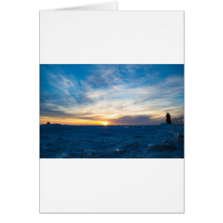 South Haven Lighthouse Frozen Lake Michigan Card