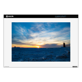 """South Haven Lighthouse Frozen Lake Michigan Decal For 15"""" Laptop"""