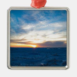 South Haven Lighthouse Frozen Lake Michigan Metal Ornament