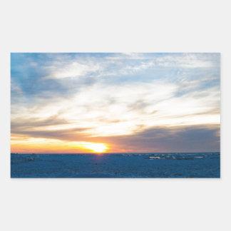 South Haven Lighthouse Frozen Lake Michigan Rectangular Sticker