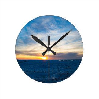 South Haven Lighthouse Frozen Lake Michigan Round Clock