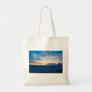 South Haven Lighthouse Frozen Lake Michigan Tote Bag