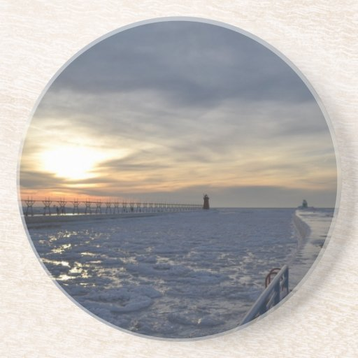 South Haven Lighthouse Sunset Drink Coaster