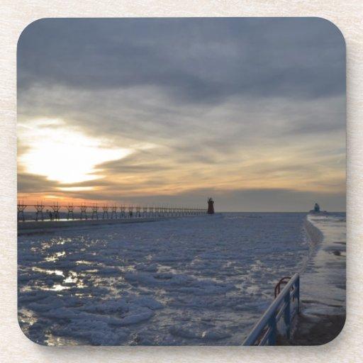 South Haven Lighthouse Sunset Beverage Coaster