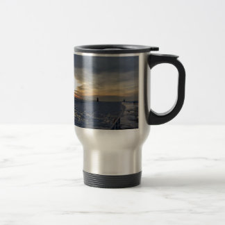 South Haven Lighthouse Sunset 15 Oz Stainless Steel Travel Mug