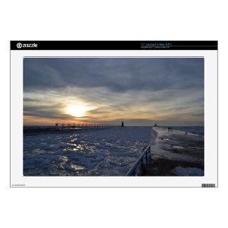 South Haven Lighthouse Sunset Laptop Skins