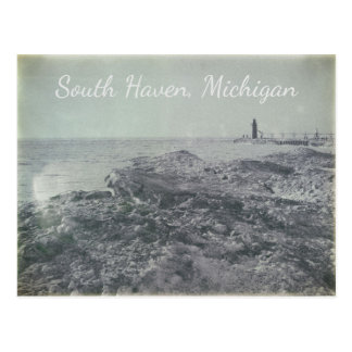 South Haven, Michigan Vintage Icebergs Lighthouse Postcard
