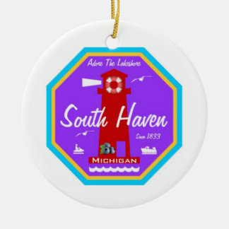 South Haven Double-Sided Ceramic Round Christmas Ornament